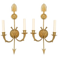 Pair of French Empire Style 20th Century Gilt Bronze Two-Arm Wall Sconces