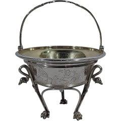 Early Tiffany Greek Revival Sterling Silver Basket