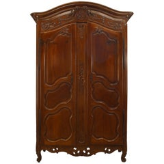 French Provincial 18th Century Walnut Carved Two-Door Armoire