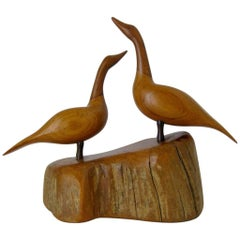 Walnut and Cherry Carved Canadian Geese Sculpture by I. Grantins, Canada