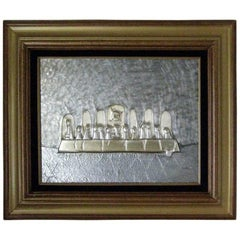 Mid-Century Modern Embossed Pewter Relief Last Supper Modernist Wall Art