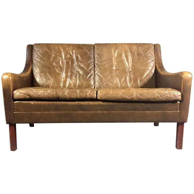 Danish 1960s Vintage Cognac Leather Two-Seat Sofa