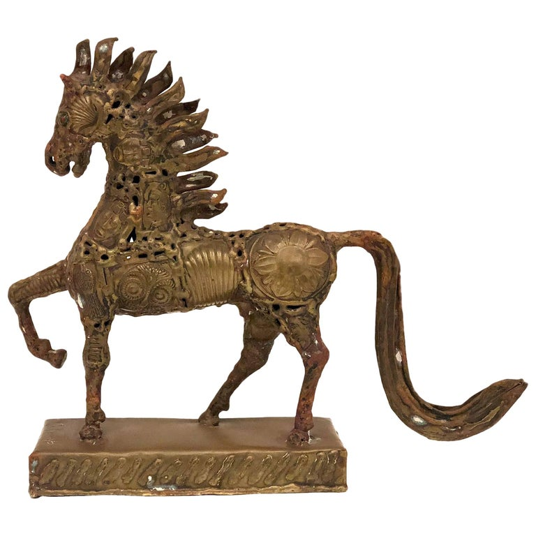 Patinated Bronze Welded Horse Sculpture by Pal Kepenyes Signed