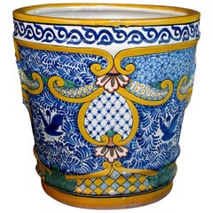 Massive and Colorfully-Glazed Mexican Conical-Form Pot