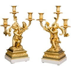Pair of Bronze Dore and Marble Cherub Candelabras Signed Henry Dasson