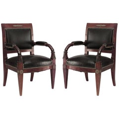 Pair of French Empire Style 19th Cent Mahogany and Bronze Trimmed Armchairs