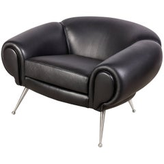 Black Leather Midcentury Style Lounge Chair