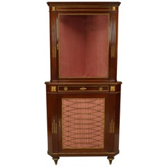 French Louis XVI Style, 19th Century Mahogany Two-Section Corner Cabinet