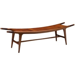Carter Hopkins Khafra Bench, Sapele Wood and Leather, 2015