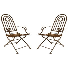 Pair of Austrian Art Deco Steel Frame Folding Campaign Style Armchairs