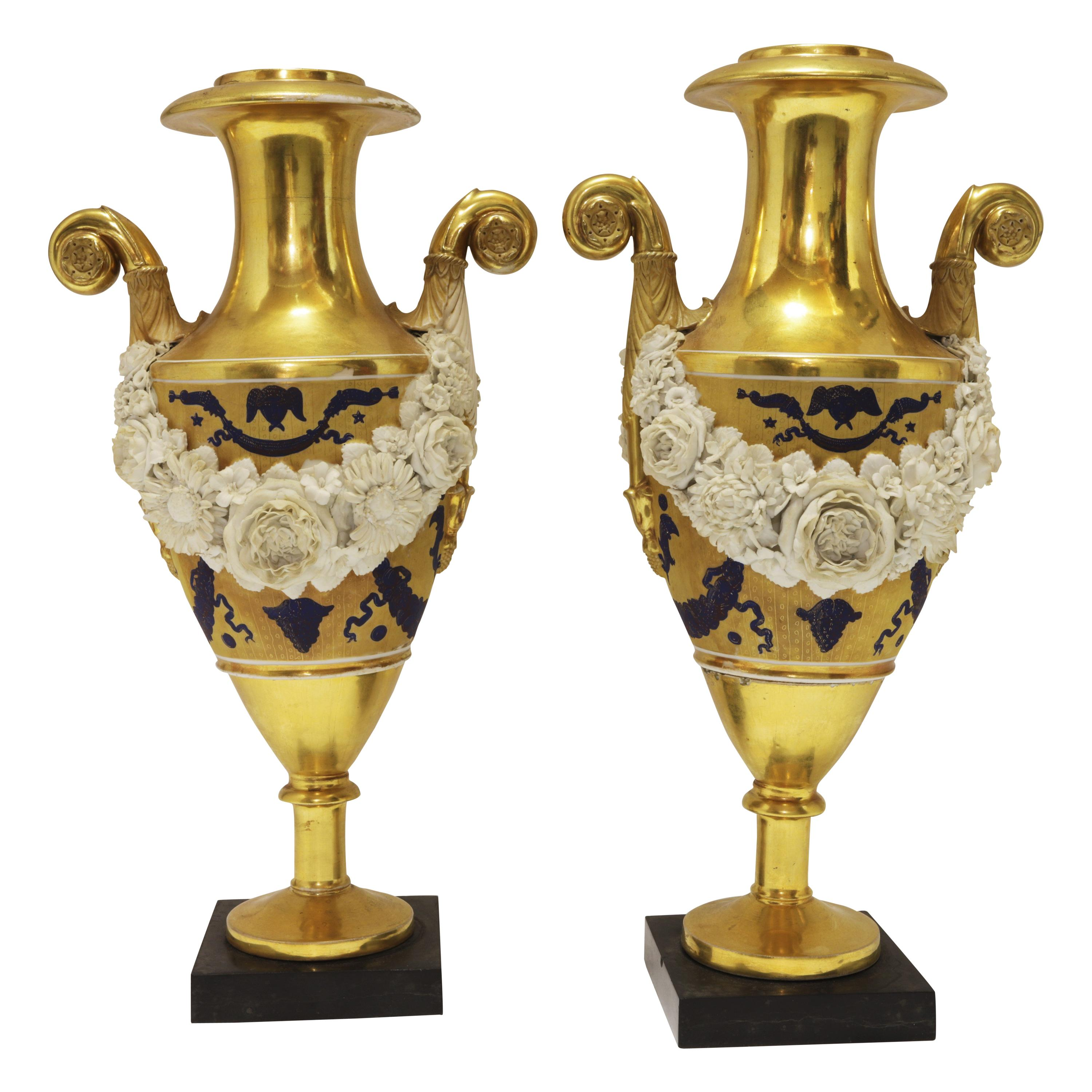 Pair of French Empire Pairs Porcelain Vases
