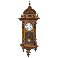 Splendid Tramp Art Wall Mounted Pendulum Clock W Porcelain
