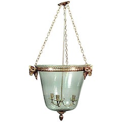 French Louis XVI Style Bronze Dore and Glass Hanging Lantern