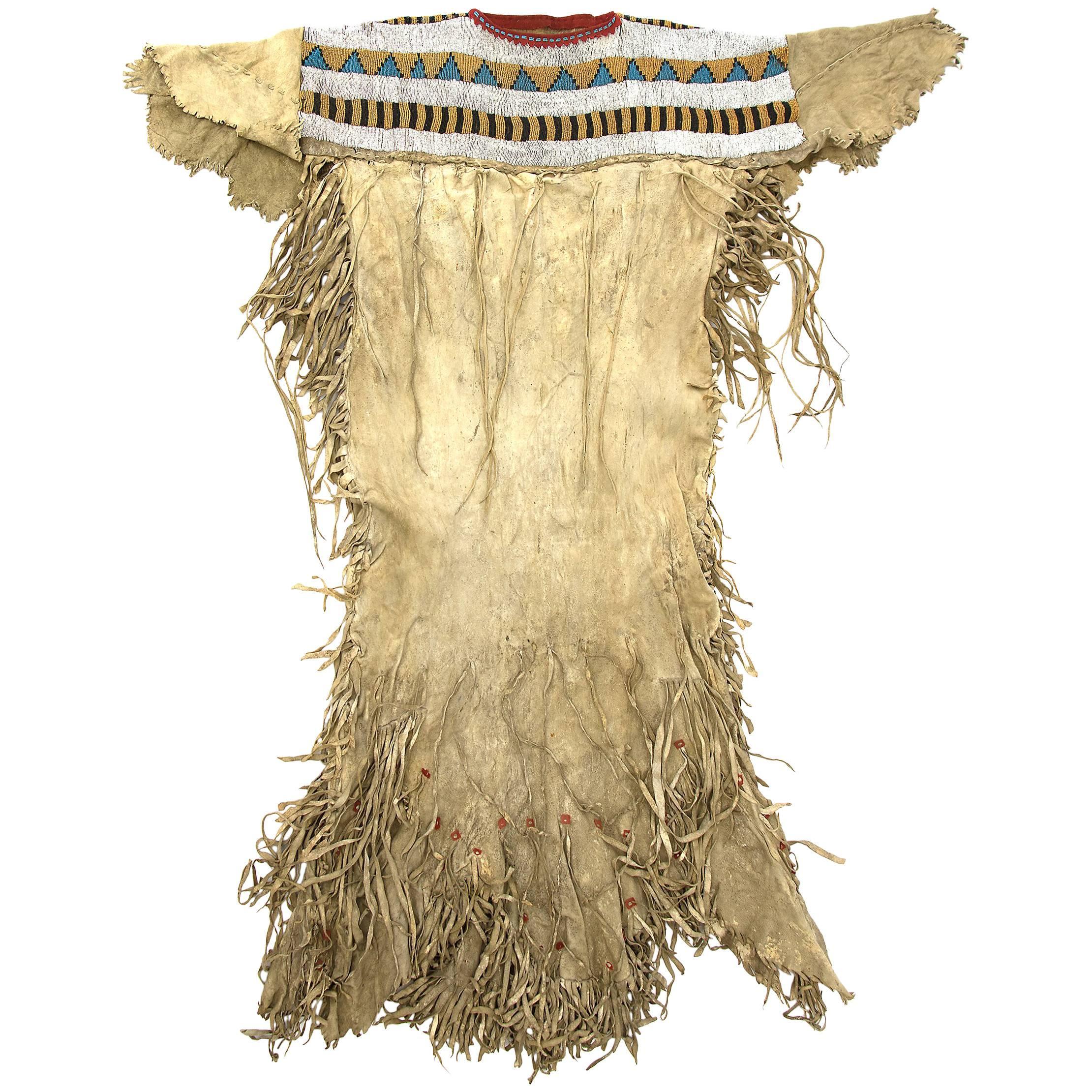 Classic Period Native American Beaded Dress, Blackfeet 'Plains', circa 1860