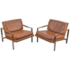 Pair of Milo Baughman Cognac Chrome Lounge Chairs