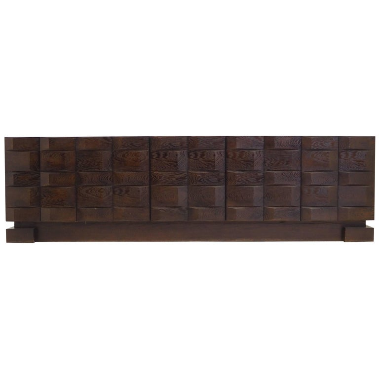 Brutalist Sideboard by De Coene Belgium, 1970s Brown Ebonized