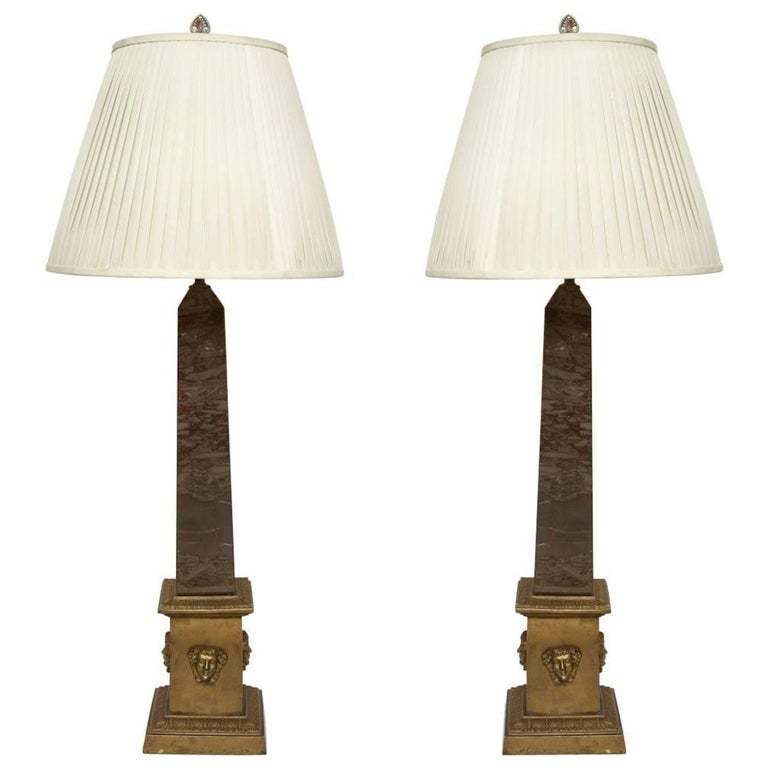 A Pair of Marble Obelisk Form Brass-Mounted Table Lamps