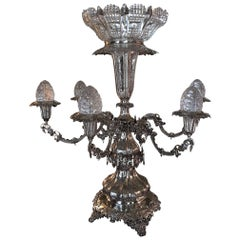 Silver Epergne or Flower Holder with a Crystal Bowl and Eggs, 20th Century
