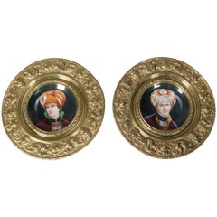 Two Hand-Painted Porcelain Maharaja Portrait Plates, India, Embossed Frame