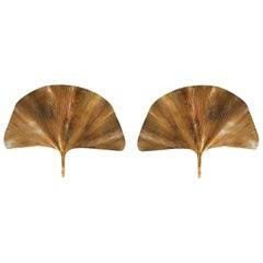 Large Brass Gingko Mid-Century Modern Italian Pair Sconces by T Barbi