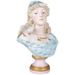 Antique English Hand-Painted Gilt Chelsea Bisque Porcelain Portrait Bust