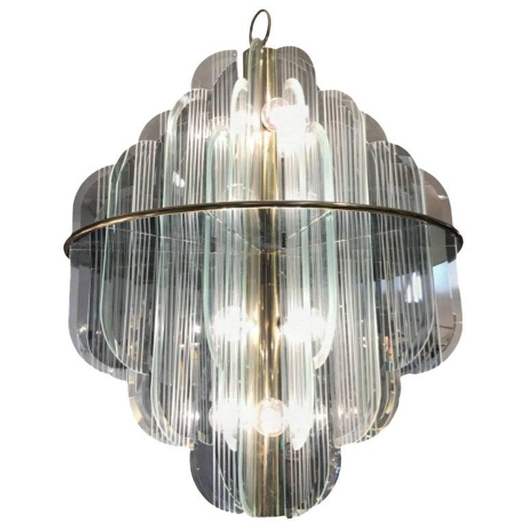 Lightolier Two-Tier Brass and Glass Twelve-Light Chandelier For Sale