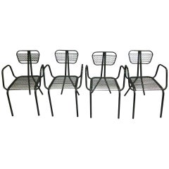 Eight French Mid-Century Modern Steel Dining Chairs in the Manner of Jean Prouve