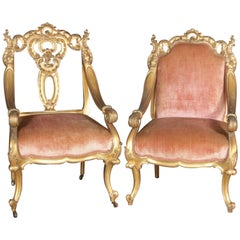 Pair of French Rococo Style Carved Giltwood Velvet Upholstered Armchairs