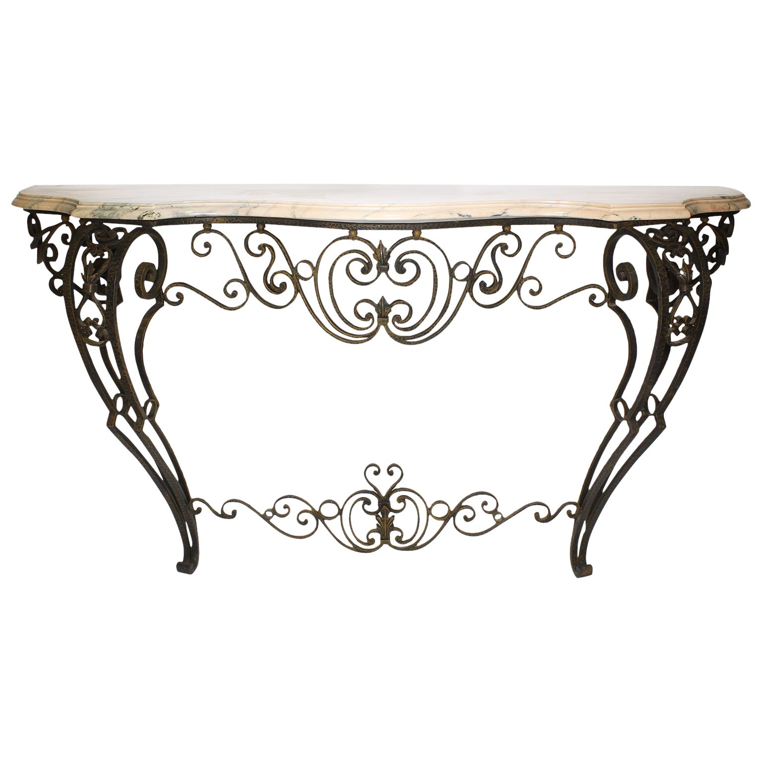 French Louis XV Style Wrought Iron Wall-Mounting Console with Marble Top