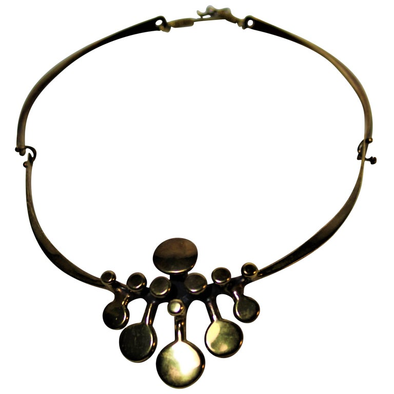 Richard Lawless Bronze Brutalist Necklace For Sale