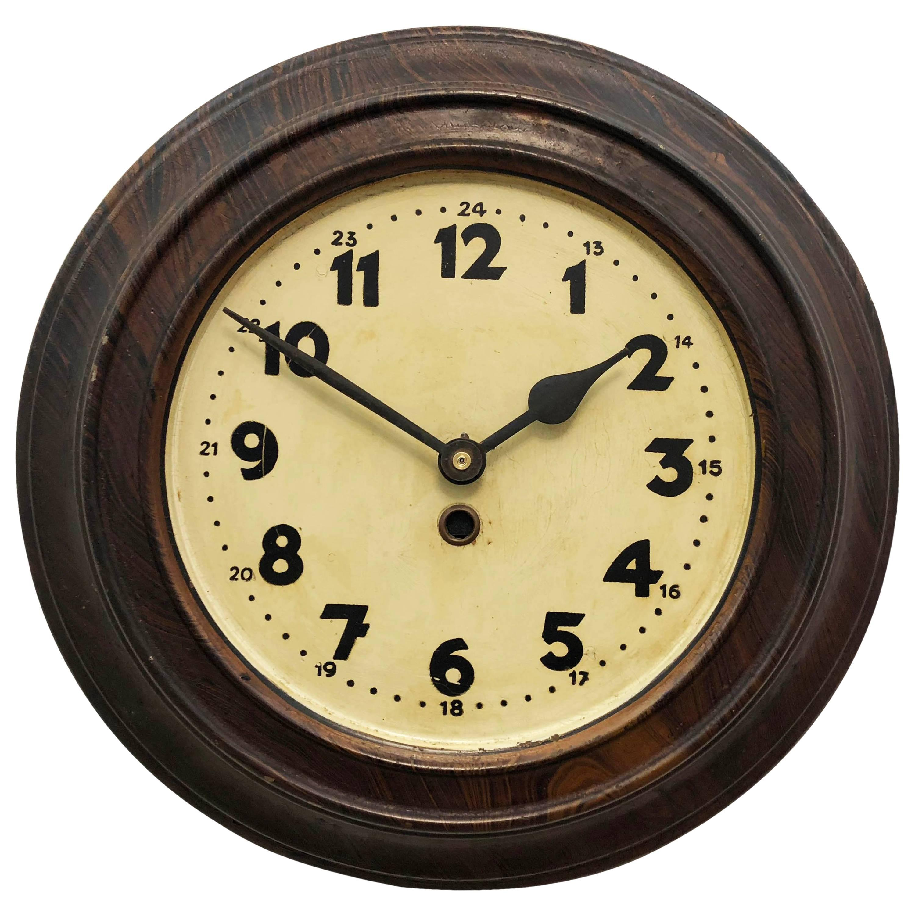 Large Steel Art Deco Wall Clock For Sale at 1stdibs