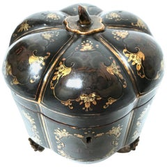 19th Century Chinese Export Melon Form Tea Caddy