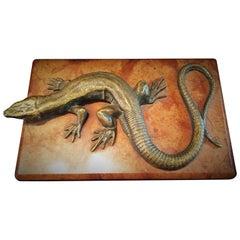 Austrian Jugenstil, Lizard, Vienna Bronze & Red Onyx Paperweight, circa 1900