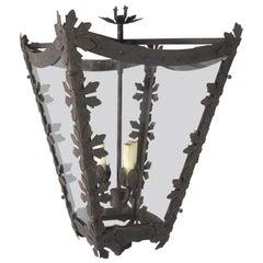 Vintage Iron Pendant with Floral Details
