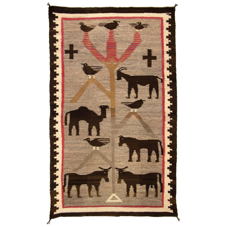 "Early Navajo Pictorial Weaving, ""Tree of Life"" Textile, circa 1900 For Sale"