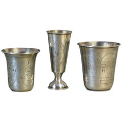 Lot of Three Imperial Russian Silver Vodka Cups