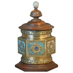 Chinese Hexagonal Cast Brass Tea Caddy