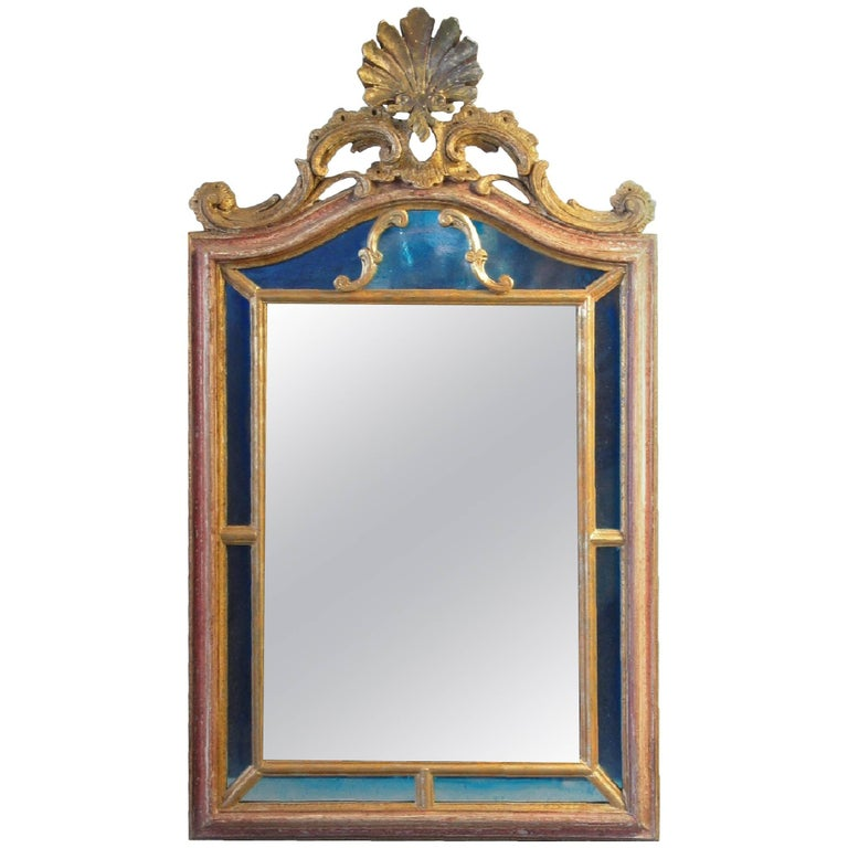 Hand-Carved Parcel-Gilt Florentine Mirror in Rococo Style