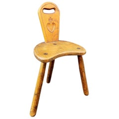 French Sculptural Wood Chair