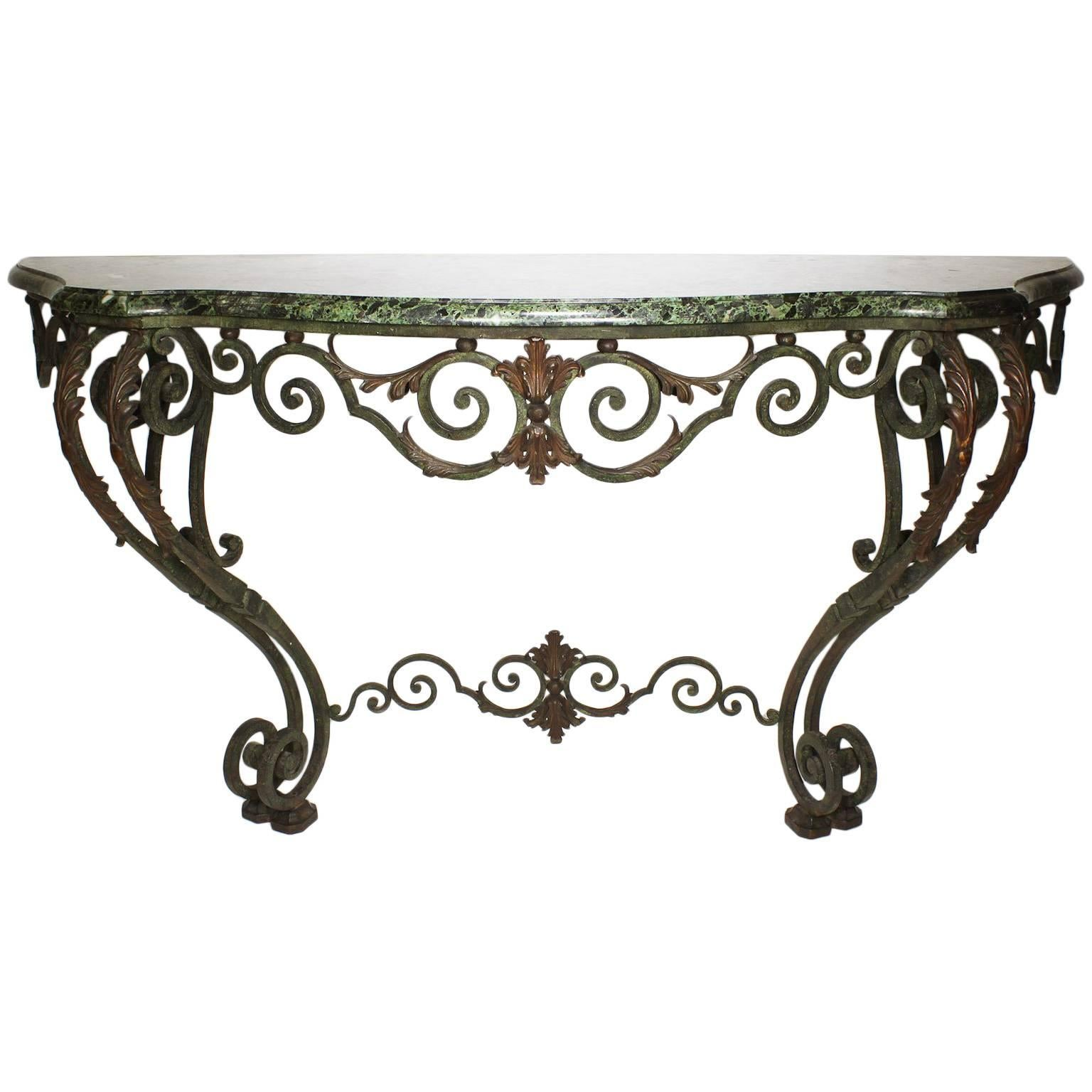 Fine French Louis XV Style Wrought Iron Wall-Mounting Console with Marble Top