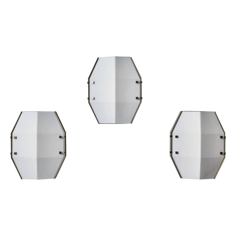 Three Rare Flush Mount Wall/Ceiling Lights by Angelo Lelli for Arredoluce