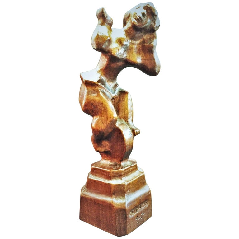Chaim Gross, Ballerina on Unicycle, Hand-Carved Wood Sculpture, circa 1940s