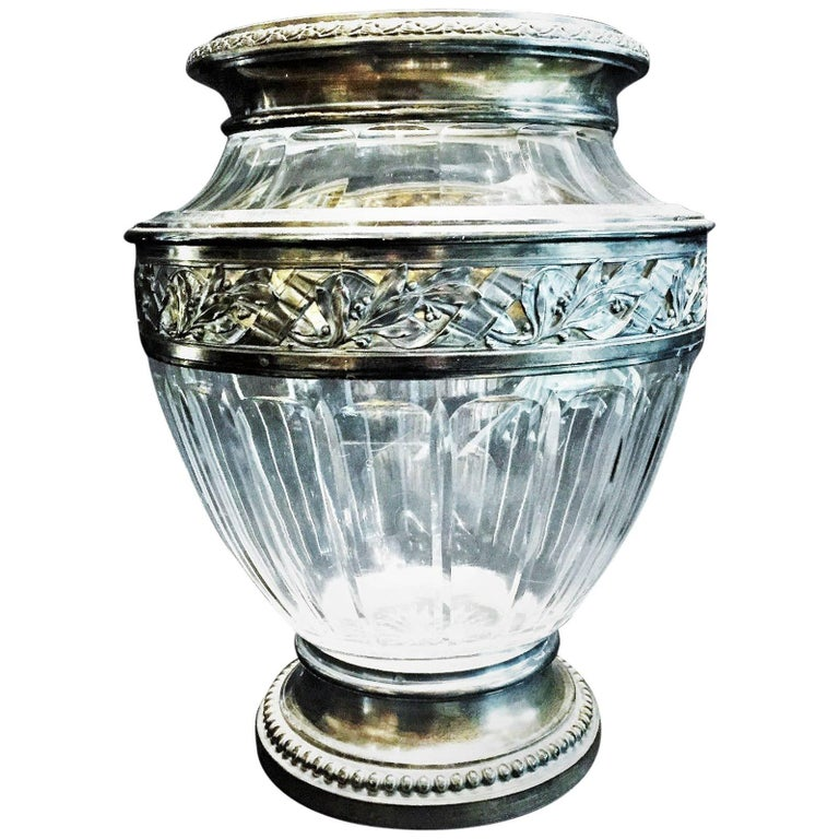 French Art Deco Hand Cut Crystal And Sterling Silver Flower Vase