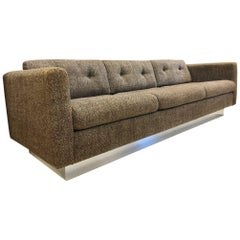 Milo Baughman Three-Seat Sofa on Chrome Plinth Base