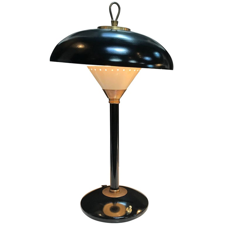 Desk Lamp in Brass and Black Metal, Italian, 1950s