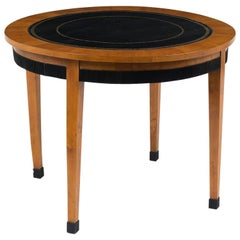 French Empire Round Center Table With Embossed Lather top Insert