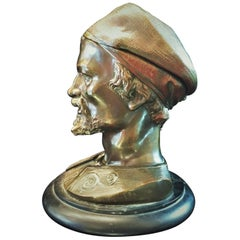 Austrian Jugenstil, Head of a Moor, Vienna Bronze Sculptural Inkwel, circa 1890s