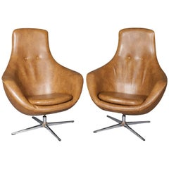 Pair of Mid-Century Modern Overman School Womb or Egg Swivel Club Chairs