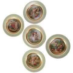 Set of Five Austrian Hand-Painted Vienna Porcelain Marriage Portrait Plates