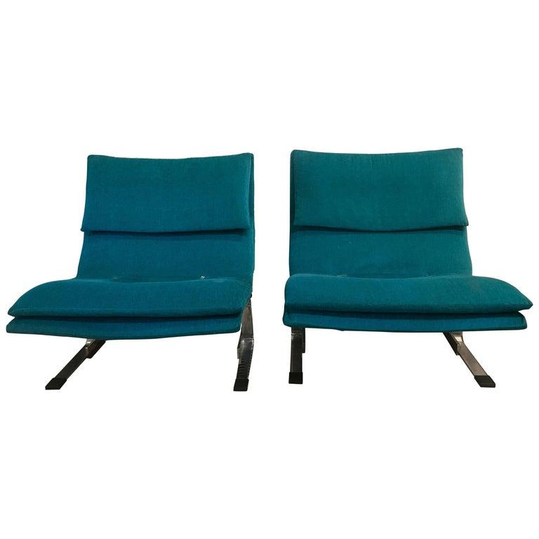 Saporiti Italian Chrome Midcentury Lounge Chairs in Sapphire Blue Dream